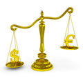 Dollar and euro signs on a scales. Royalty Free Stock Photo
