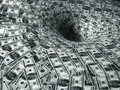 Dollar flow in black hole Royalty Free Stock Photo