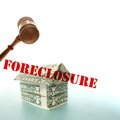 Dollar foreclosure house and gavel origami money with red text Royalty Free Stock Photography