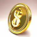Dollar Gold Coin Stock Photo