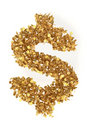Dollar from gold presidential dollars Royalty Free Stock Photo