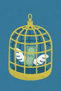 Dollar in golden bird cage eps format Stock Image