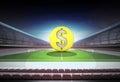 Dollar golden coin in midfield of magic football stadium Royalty Free Stock Photo