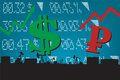Dollar growth,Ruble decline illustration Royalty Free Stock Photo