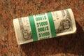 Dollar hundra för 10 bills en rullsammanräknande Royaltyfri Fotografi