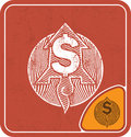 Dollar icon like flying rocket on red background vector illustration. Royalty Free Stock Photo