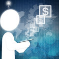 Dollar icon on touch-screen Royalty Free Stock Images