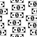 Dollar icons seamless pattern on white.