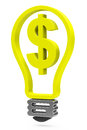 The dollar light bulb d generated picture of a Royalty Free Stock Images