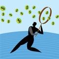 Dollar, man magnifying glass. Royalty Free Stock Photo