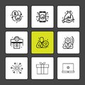 dollar , mobile , fire works , money , box , gift box , corporate , share , eps icons set vector Royalty Free Stock Photo