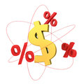 Dollar molecule the concept of financial percents orbiting around the symbol Royalty Free Stock Image