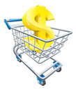 Dollar money trolley concept currency of sign in a supermarket shopping cart or Stock Image