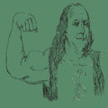 Dollar muscle hand drawn sketch of president benjamin franklin showing muscles concept of finance business Royalty Free Stock Image