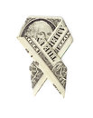 Dollar origami cancer awareness ribbon isolated on white background Stock Photos