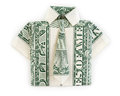 Dollar origami shirt and tie isolated Royalty Free Stock Photo
