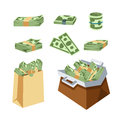 Dollar paper business finance money stack in bag of bundles us banking edition and banknotes bills isolated wealth sign