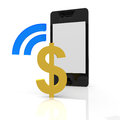 Dollar payment with a mobile device Royalty Free Stock Photography