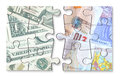 Dollar pound currency jigsaw Royalty Free Stock Photo