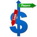 Dollar with profit only sign and loss downwards Stock Photo