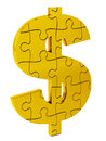 Dollar puzzle, gold and solid Royalty Free Stock Photo