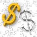 Dollar Puzzle Showing Revenues And Investments Royalty Free Stock Photography