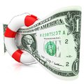 Dollar rescue concept. Royalty Free Stock Photo