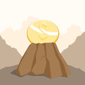 Dollar on the rock vector illustration of a gold coin embedded a sturdy Stock Photo
