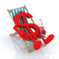 Dollar sign above beach chair Royalty Free Stock Photo