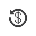 Dollar sign with arrow around icon vector, filled flat glyph, solid pictogram isolated on white Royalty Free Stock Photo