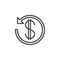 Dollar sign with arrow around line icon, outline vector sign