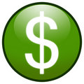 Dollar sign Button Icon (green) Royalty Free Stock Images