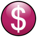 Dollar sign Button Icon (pink) Royalty Free Stock Photography