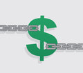 Dollar sign chains pulled from from either side Royalty Free Stock Images