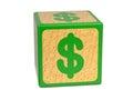 Dollar Sign - Childrens Alphabet Block. Royalty Free Stock Photo