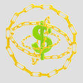 Dollar sign encircled with golden chains isolated Stock Photo