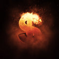 Dollar Sign on Fire Royalty Free Stock Photo