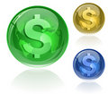 Dollar sign on glossy globe Royalty Free Stock Images