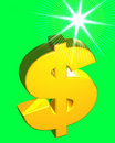 Dollar Sign (on green) Royalty Free Stock Images