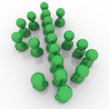 Dollar sign green people money symbol currency a group of standing in a formation to symbolize investment savings and wealth Stock Photos