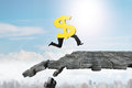 Dollar sign with human legs running on breaking puzzle ground Royalty Free Stock Photo