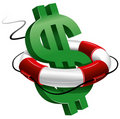 Dollar sign in the lifebuoy Royalty Free Stock Images