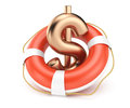 Dollar sign with lifebuoy on white background d render Royalty Free Stock Photography