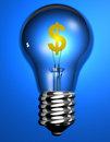 Dollar Sign in Lightbulb Royalty Free Stock Images