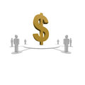 Dollar sign in the middle around a group of people Royalty Free Stock Images