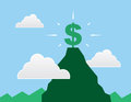 Dollar sign mountain top at the of a Stock Image