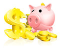 Dollar sign piggy bank illustration of a pink with lots of gold coins and a big or symbol Stock Photos