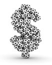 Dollar sign  from soccer football balls Royalty Free Stock Image