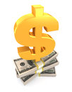 Dollar sign on stack of USA dollars. Royalty Free Stock Photo