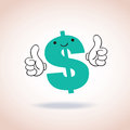 Dollar sign thumbs up mascot cartoon character Royalty Free Stock Photo